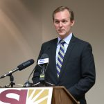 Salt Lake County Mayor Ben McAdams talks about facts and supporting documents regarding job termination of former staffer member Justin Miller, May 13, 2015, in Salt Lake City.